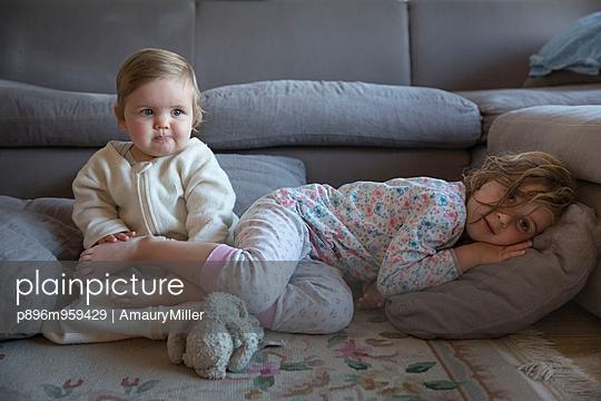 Two children in pyjamas - p896m959429 by AmauryMiller