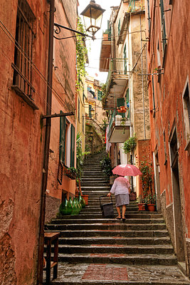 Monterosso al Mare, alley with many steps - p1154m2161046 by Tom Hogan