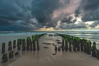 Germany, Schleswig-Holstein, Sylt, Rantum, groynes on West beach - p300m2042156 by Kerstin Bittner