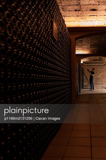 Man checking bottle in wine cellar - p1166m2131256 by Cavan Images