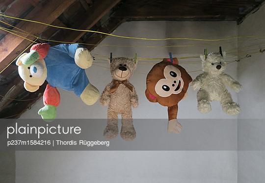 Plüschtiere auf der Leine - p237m1584216 von Thordis Rüggeberg