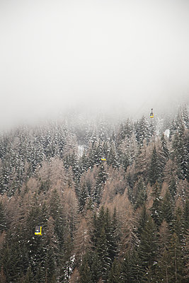 Fog above trees in La Thulie, Italy - p352m1536515 by Andreas Ulvdell