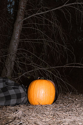 Man with a pumpkin in his head lying down on the forest - p1423m2210960 by JUAN MOYANO