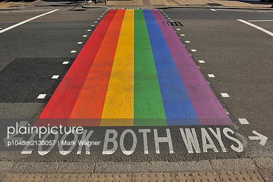Gay Pride Pedestrian Crossing - Look Both Ways - p1048m2138057 by Mark Wagner