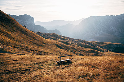 Single bench, Durmitor National Park, Montenegro - p1600m2184182 by Ole Spata
