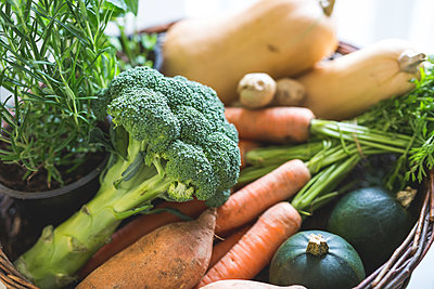 Mixed vegetables in a basket - p300m2078952 by Anke Scheibe