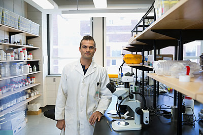 Portrait confident scientist in laboratory - p1192m1145628 by Hero Images