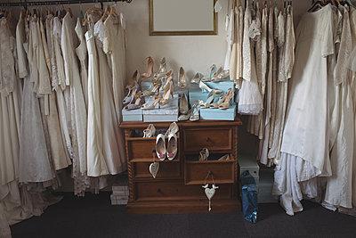 Various wedding dresses and footwears - p1315m1421954 by Wavebreak