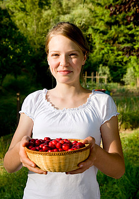 girl with basket of cherries - p4296446f by Henglein and Steets