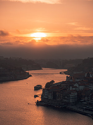 View of Porto with Douro river at sunrise - p1681m2263252 by Juan Alfonso Solis