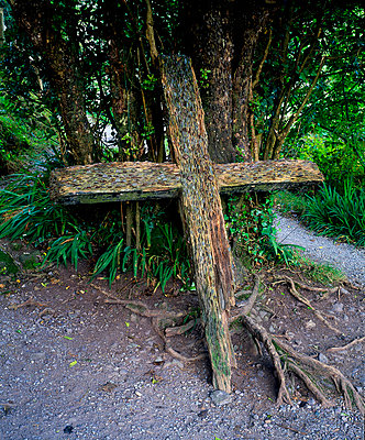 Money offering in a cross in Gougane Barra, County Cork, Ireland - p4425030f by Design Pics
