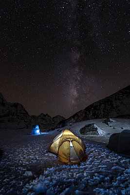 Nepal, Khumbu, Everest region, the milky way and tent from high camp on Pokalde peak at night - p300m1019093f by Alun Richardson