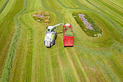 Aerial view of forage harvester on field - p312m2217116 by Thomas Adolfsén