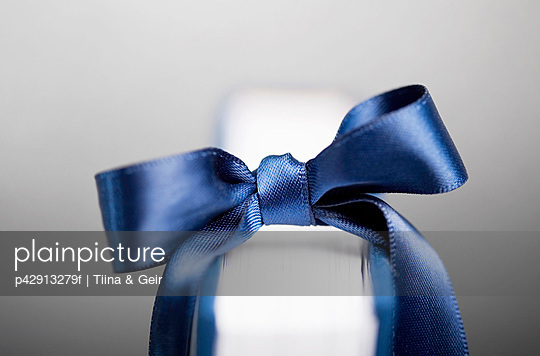 Blue ribbon on book