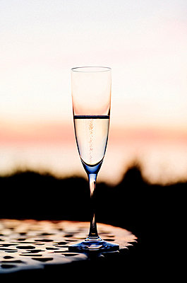 Sunset Behind Champagne Glass  - p6942858 by Bobo Olsson