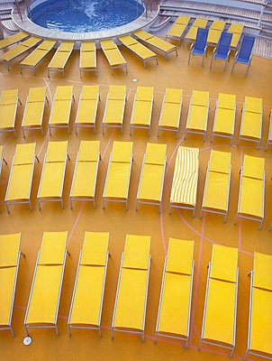 Cruise ship with yellow sunlounger - p4470342 by Anja Lubitz