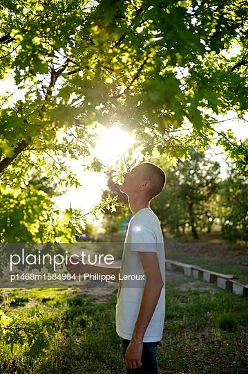 Jugendlicher mit Kurzhaarschnitt unter einem Baum - p1468m1584984 von Philippe Leroux