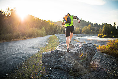 Trail Running near the Chilliwack River, British Columbia, Canada. - p1166m2202162 by Christopher Kimmel / Alpine Edge Photography