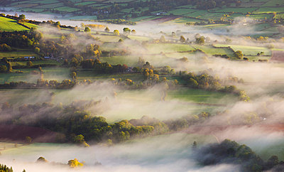 Mist blows over rolling countryside in the early morning near Talybont-on-Usk, Brecon Beacons National Park, Powys, Wales, United Kingdom, Europe - p8713048 by Adam Burton