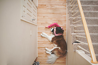 High angle view of girl sitting by Saint Bernard sleeping on floor at home - p1166m1230452 by Cavan Images