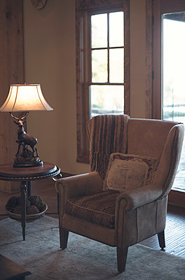Cozy Chair and Hunting Themed Lamp - p1617m2200372 by Barb McKinney