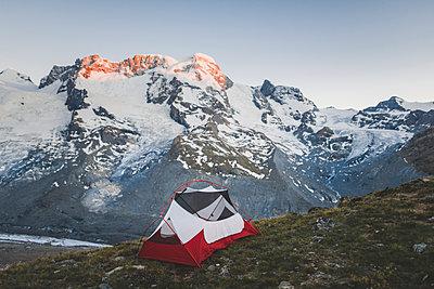Tent by Gorner Glacier in Valais, Switzerland - p1427m2186488 by Oleksii Karamanov