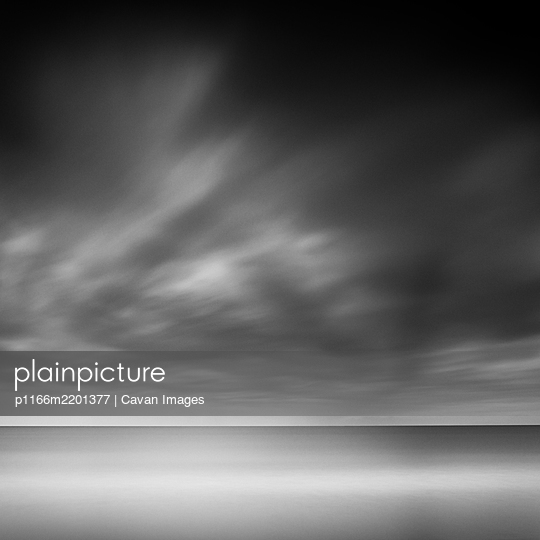 Long exposure shot of the sea and moody clouds in Kugenuma, Kanagawa Prefecture, Japan - p1166m2201377 by Cavan Images
