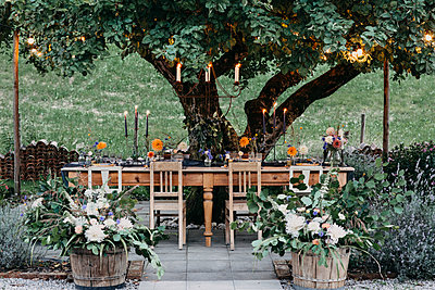Festive laid table with candles under a tree - p300m2059818 by Alberto Bogo