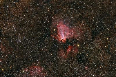 Namibia, Region Khomas, near Uhlenhorst, Astrophoto of diffuse emission and reflection nebula Omega Nebula with a telescope - p300m1505239 by Thomas Grohmann