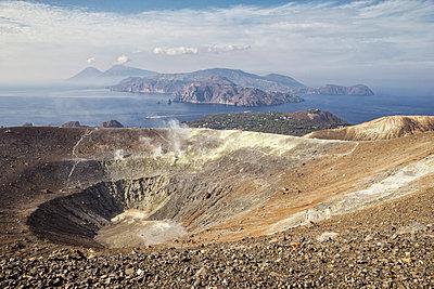Aeolian Islands, Vulcano, Panoramic view from volcano - p300m2104297 by Maria Maar