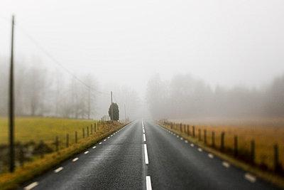 Scandinavian Peninsula, Sweden, Skåne, View of empty country road through landscape - p5755510f by Peter Rutherhagen