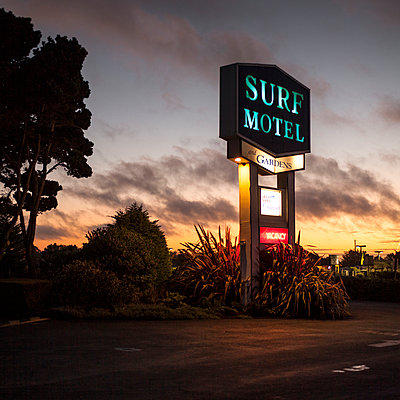 Surf Motel neon sign in California - p1324m1165149 by Michael Hopf