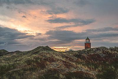 Germany, Schleswig-Holstein, Sylt, Kampen, cross light in dunes at sunset - p300m2042132 by Kerstin Bittner