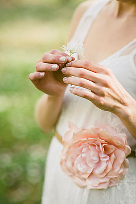 Bride holding daisies in hand - p540m1042925 by Claire Morgan