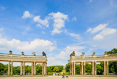 Germany, Brandenburg, Potsdam, Sanssouci Palace, Colonnade in park - p352m1141756 by Werner Nystrand