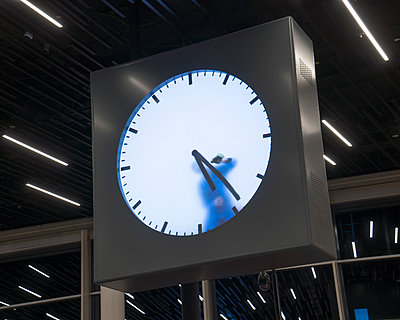 Clock at the airport Schiphol - p1154m1574304 by Tom Hogan