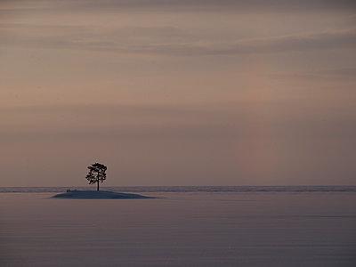 Abendstimmung am Vätternsee, Insel im zugefrorenen See - p271m1196383 von Michael Jörrn