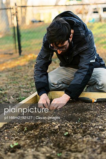 A man planting seedlings in early spring. - p1166m2192127 by Cavan Images