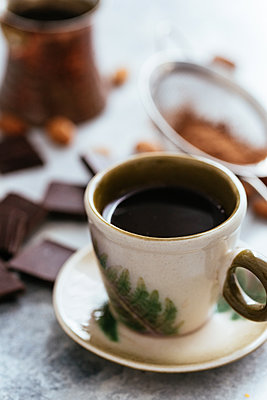 morning coffee in turk. chocolate and almonds - p1166m2255342 by Cavan Images