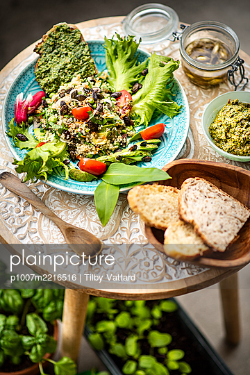 Slowfood plate with salad - p1007m2216516 by Tilby Vattard