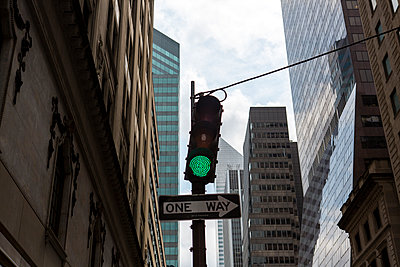 Traffic lights and sign in New York City - p1057m1466828 by Stephen Shepherd