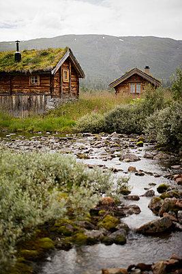 Norway, Jotunheimen, Utladalen, Old wooden houses - p352m1349396 by Gustaf Emanuelsson