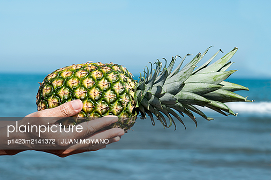 Man with a pineapple in his hands on the beach - p1423m2141372 von JUAN MOYANO