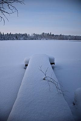 Verschneiter Steg am Waldsee - p1235m2064695 von Karoliina Norontaus