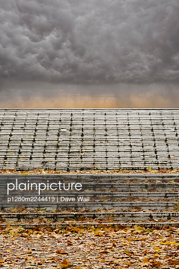Great Britain, Stormy sky and steps covered with autumn foliage - p1280m2244419 by Dave Wall