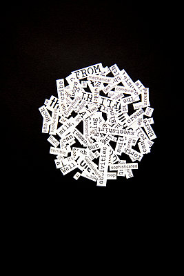 Notes with words arranged in a circle  - p1248m1332496 by miguel sobreira