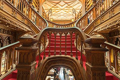 Portugal, Porto, Book store, Livraria Lello with staircase - p1332m2197145 by Tamboly