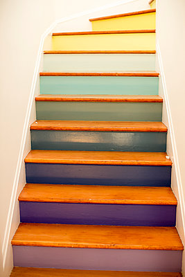 Multicolor steps on staircase - p555m1482048 by Adam Hester
