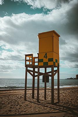 Bay watch tower at the beach, Malaga - p1681m2283674 by Juan Alfonso Solis