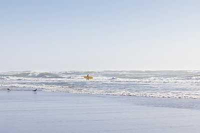 Single surfer wades in the water, San Francisco, California - p756m2295389 by Bénédicte Lassalle